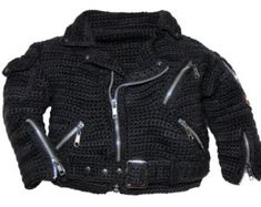 Motorcycle Jacket Crochet Pattern, inspired by the classic Harley Davidson Motorcycle, crochet jacket, bikers jacket