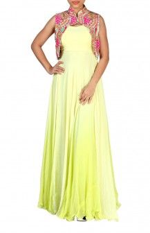Ombre Green Gown With Colourful Mirror Work Jacket  Rs. 10,500