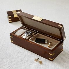 Wood + Brass Watch Box | West Elm | www.defineddesignsblog.com