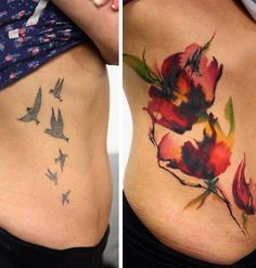 Since the birds on the first tattoo are rather far apart, it could be quite simple to hide them on a flower design. It would actually look like there's nothing beneath the new tattoo.