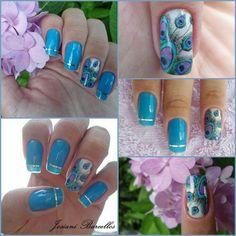 Blue Peacock nailart #nailart #nails #blue #peacock