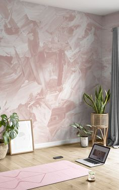 Welcome depth and texture to your wall, without the use of real paint with this rose beige abstract paint wallpaper. Painting Wallpaper, Room Wallpaper, Pink Wallpaper, Beige Living Rooms, Fresco, Pink Home Decor, Color Rosa, Paint Designs, Bedroom Decor
