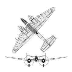 Bloch MB-170 schematics :: Les Bloch MB.170/MB.178 sont des avions militaires français de la Seconde Guerre mondiale, dont le plus connu est le Bloch MB.174. Mis en service en trop petite quantité durant la bataille de France en mai et juin 1940, il fut utilisé par l'armée de l'air jusqu'en 1944. Une version de torpillage, le MB.175T fut produite une fois la guerre terminée pour l'aéronautique navale, les derniers exemplaires n'étant réformés qu'en 1960.