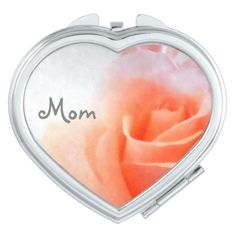 Mom's Heart-Shaped Compact Mirror