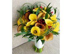 Ramo de novia con flores amarillas