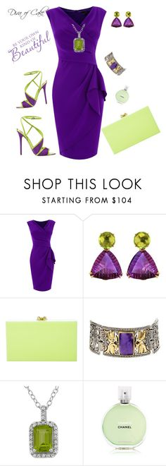 """purple and green outfit"" by Diva of Cake on Polyvore featuring Coast, NOL Jewellers, Brian Atwood, Charlotte Olympia, Konstantino and Chanel"