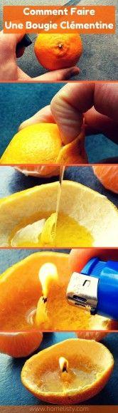 Comment faire une bougie avec clémentine