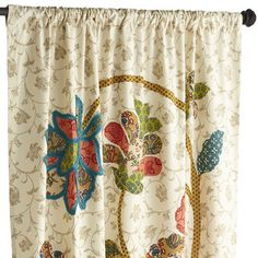 """Pier 1 Imports: Vinita Floral Curtain. $47.96. Rod pocket construction, Lined, Cotton, Multicolor, Each panel sold separately, 52""""W x 84""""L, Machine-wash cold, do not bleach, line dry or hang to dry"""