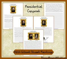 These printables are awesome! FREE Presidential Copywork with Gilbert Stuart Paintings Gilbert Stuart, History For Kids, Modern History, Worksheets For Kids, Lesson Plans, American History, Homeschool, Teaching, Education