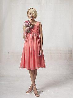 V Neck Chiffon Bridesmaid Dress with Pleated Bodice 0113873 - USD $125.98