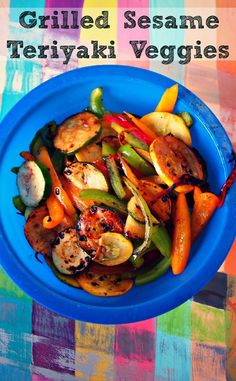 Having a hard time eating your vegetables? Try them this way!       Heat Grill to 500 degrees.  Mix together veggies and sesame Teriyaki sauce.  Place veggies on top of sprayed tin foil sheet.  Grill until veggies are lightly browned.