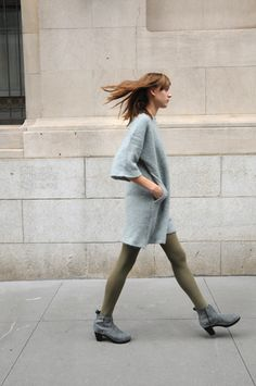 i'd wear different tights. but the sweater dress is awesome. New Fashion, Girl Fashion, Winter Fashion, Fashion Outfits, Womens Fashion, Green Tights, Grey Sweater Dress, Weather Wear, Cool Sweaters