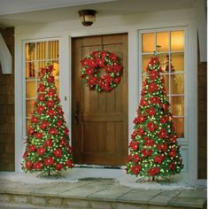 Lighted Outdoor Poinsettia Pull Up Tree, Wreath, And Hanging Basket