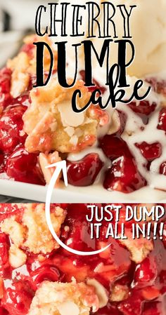 With sweet cherry pie filling and layers of flavor and texture, this Cherry Dump Cake recipe is simple to make and delicious to eat warm with ice cream. Cake Mix Desserts, Cherry Desserts, Cherry Recipes, Cherry Pie Filling Desserts, Cherry Pie Filling Cake Mix Recipe, Cherry Dump Cakes, Desserts With Cherries, Cake Mix Cherry Cobbler, Vanilla Cream Filling Recipe