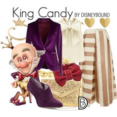 King Candy by leslieakay on Polyvore featuring Tagliatore, TIBI, Johnston & Murphy, Andara, Arsha Jewellery, Adele Marie, disney, disneybound and disneycharacter