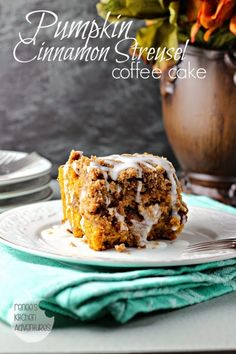 Pumpkin Cinnamon Streusel Coffee Cake:  Pumpkin, cinnamon, pecans and streusel inside and out!