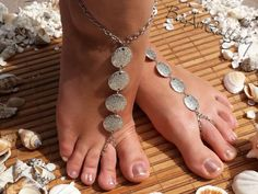 Hey, I found this really awesome Etsy listing at https://www.etsy.com/listing/160943964/pair-of-silver-barefoot-sandals-2-pcs