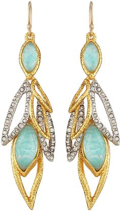 Alexis Bittar Gilded Muse d'Ore Dangling Leaf Wire Earrings