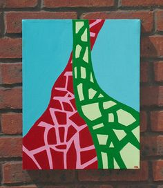 Giraffe painting on Folksy. Acrylic on canvas. £110.00