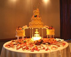 Fall Tiered Fountain Cake""
