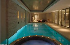 Knightsbridge church - turned-into-a house, UK - Holy water? In the basement of the newly-refurbished home there is a swimming pool. It spells tranquility and peaceful. Indoor Pools, Pools Inground, Church Conversions, Basement Pool, Above Ground Swimming Pools, Lap Swimming, My Pool, Swimming Pool Designs, Home Spa