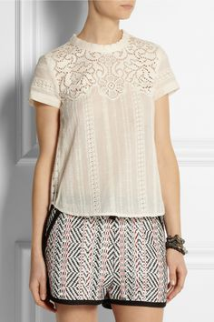SEA   Lace-paneled broderie anglaise cotton top   NET-A-PORTER.