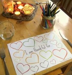 Placemat that kids can write down what they're thankful for