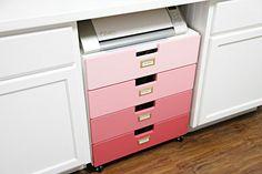 IKEA Dresser Turned Ombré Craft Storage Cart