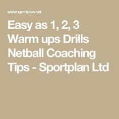 Easy as 1, 2, 3 Warm ups Drills Netball Coaching Tips - Sportplan Ltd