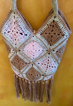 Hand Crochet Hip Bag with Fringe