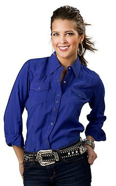 ❤ Cowgirl Country Fashion Rock 47 by Wrangler Women's Cobalt Blue Long Sleeve Western Shirt Moda Country, Country Wear, Country Outfits, Casual Outfits, Cute Outfits, Country Fashion, Country Girls, Rodeo Shirts, Western Shirts