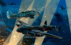 NO TURNING BACK - Aces High.by Robert Taylor   Media: Lithograph Size: 32 x 24 inches Release Date: 7/2001 A Lancaster of No. 61 Squadron, RAF, piloted by Flt. Lt. Bill Reid, under attack from a German Fw190 en route to Dusseldorf on the night of November 3rd, 1943. Already injured in a previous attack, Bill Reid was again wounded but pressed on for another 50 minutes to bomb the target, then fly his badly damaged aircraft on the long journey home,16