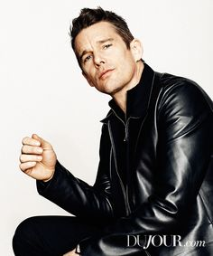 Ethan Hawke wears a leather coat from Jeffrey Rudes with a Prada shirt and sweater.