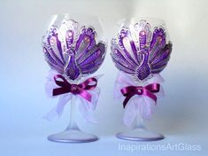 Wine Glasses, CRYSTAL Glasses, Set of 2, Wedding Glasses, Peacock Glasses, Toasting Glasses, Hand Painted, Wine Glass Art