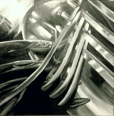 Jaime Cowdry. Painting 2 of 3 (of close up cutlery set). 18''x18''. October 2014