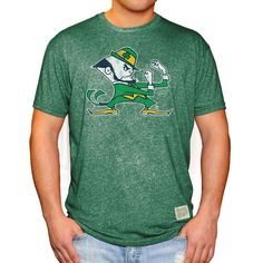 Notre Dame Fighting Irish Original Retro Brand Leprechaun School Logo Mock Twist T-Shirt - Green