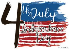 Poster with U.S. Flag in Brushstroke Style for Independence Day