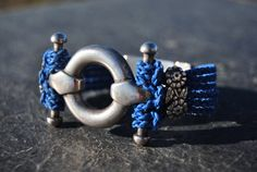 Silver and blue cotton bracelet by NorthernlightsNO on Etsy