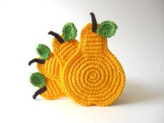 Yellow Pear Crochet Coasters  Green Leaves Beverage by MariMartin, $24.00