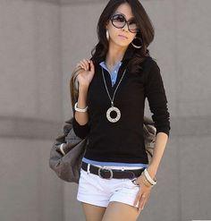 Black Sweater with Blue Collared Shirt #fallwear