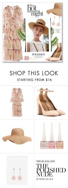 """""""Polished to Perfection!"""" by prettynposh2 ❤ liked on Polyvore featuring Zimmermann, Aquazzura, Old Navy, Christian Louboutin, MANGO, LE VIAN, wedding, silk and Floppy"""