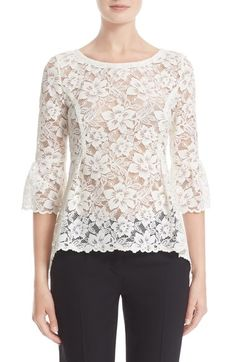 Oscar de la Renta High/Low Lace Blouse available at Sheer Lace Top, Lace Peplum, Blouse And Skirt, Blouse Designs, White Lace, Fashion Outfits, Clothes For Women, High Low, Fashion Design