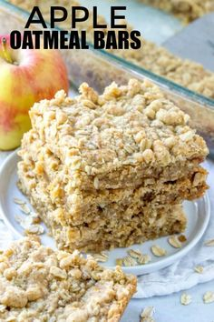 Apple Oatmeal Bars An Easy and Delicious Fall Dessert is part of Apple oatmeal - If you love apple crisp you'll adore these Apple Oatmeal Bars! Full of oats, cinnamon and apples these bars a quick, easy and full of flavor! Fall Dessert Recipes, Fall Desserts, Delicious Desserts, Awesome Desserts, Pecan Desserts, Apple Oatmeal, Easy Oatmeal Bars, Oatmeal Crisp, Cinnamon Oatmeal
