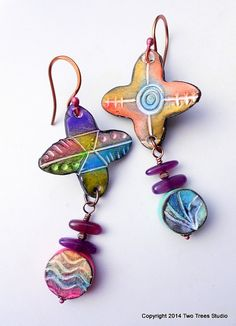 Primary Colors: A riot of color, these one-of-a-kind whimsical polyclay earrings are lightweight and delightful.  By Two Trees Studio, $32.00.