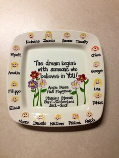 Teacher Plate. Gift. Children's' faces. Handpainted, ceramic, personalized.  www.TheTracyMurphy.etsy.com