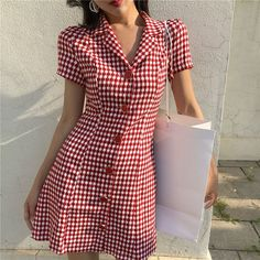 Buy Moss Studio Gingham Short-Sleeve A-Line Dress Casual Wear, Casual Dresses, Fashion Dresses, Short Sleeve Dresses, Kurti Designs Party Wear, Check Dress, Buy Dress, Saree Blouse Designs, Couture