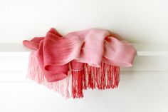 Hand woven scarf red pink Valentines Day long with by katerynaG, $90.00