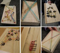 Child made geo boards. Get them to design/draw where they want the nails to go. To make each individual.Hold nails with wooden clothes pegs for safety.