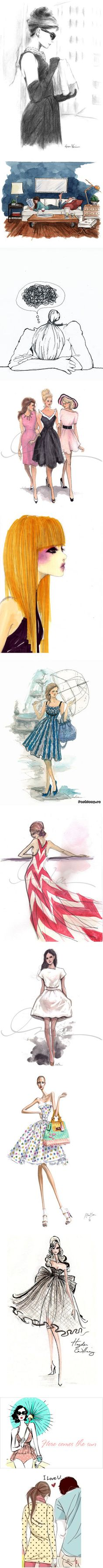 """""""Drawings women 4"""" by catgoddess on Polyvore. I want to learn how to draw fashion sketches like this. :)"""