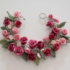 Burgundy Rose Charm Bracelet Polymer Clay by beadscraftz on Etsy
